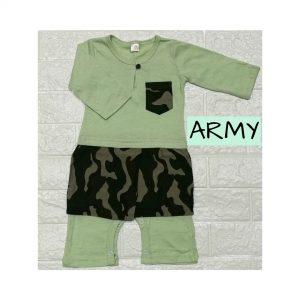 Baju Melayu Romper Bersampin (Army)