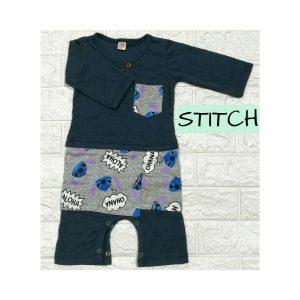 Baju Melayu Romper Bersampin (Stitch)
