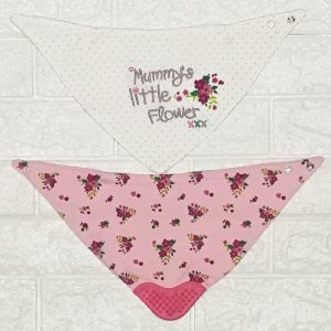 2pcs Bandana Bibs with Teether 100% Cotton (Little Flower)