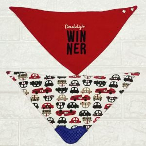 2pcs Bandana Bibs with Teether 100% Cotton (Daddys's Winner)