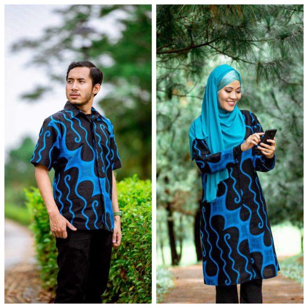 Batik Couple Ibu Ayah (Parang Blue)
