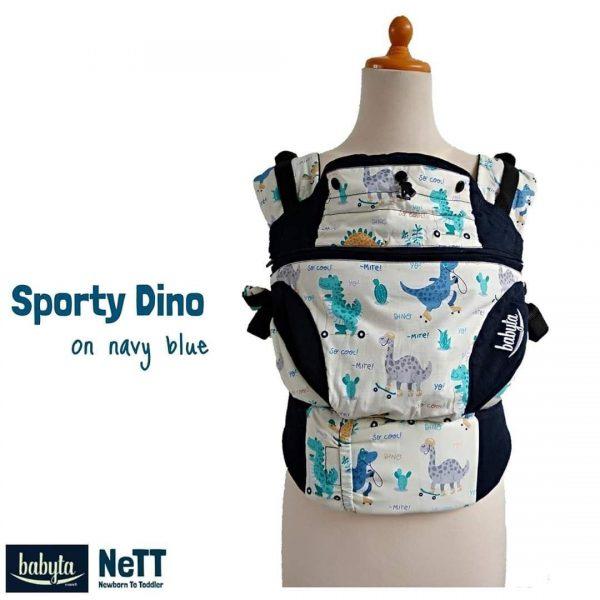 Babyta NeTT SSC Ergonomics Baby Carrier by Bobita (Sporty Dino on Navy Blue)