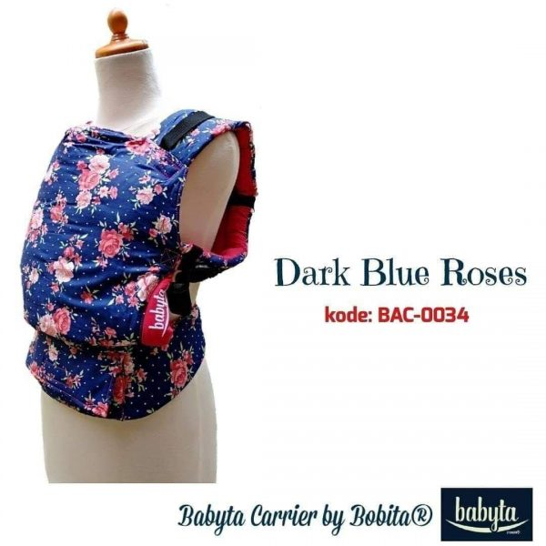 Babyta SSC Ergonomics Baby Carrier by Bobita – PRE-TODDLER SIZE (Dark Blue Roses)