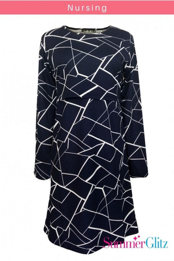 Nursing Blouse (Abstract Blue White)